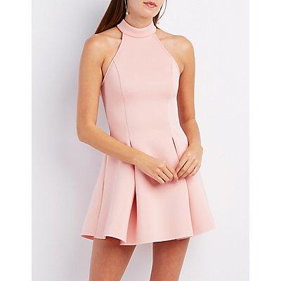 Mock Neck Scuba Skater Dress