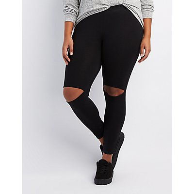 Plus Size Slit Knee High-Rise Leggings