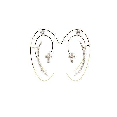 Cross Ear Crawler & Stud Earrings Set