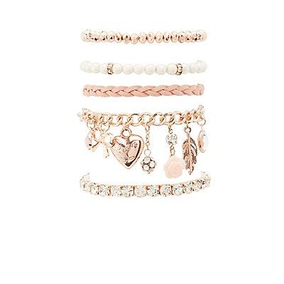 Sweet Charm Layering Bracelets - 5 Pack