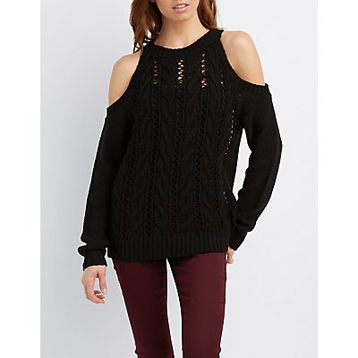 Cable Knit Cold Shoulder Sweater