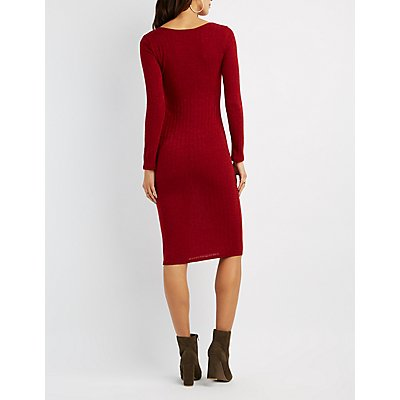 Ribbed Cut-Out Sweater Dress