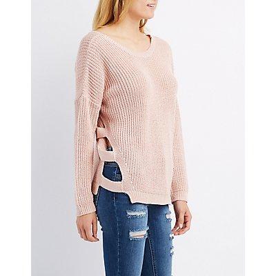 Shaker Stitch Caged Sweater