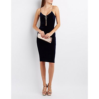 Velvet Bodycon Midi Dress