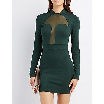 Mesh-Inset Bodycon Dress