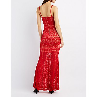 Plunging Lace Maxi Dress