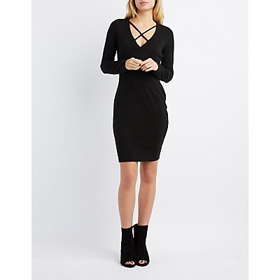 Ribbed Lattice-Front Midi Dress