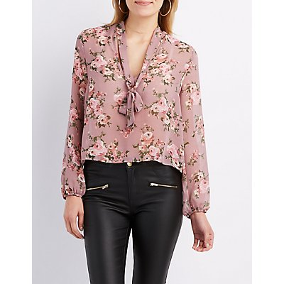 Floral Tie-Neck Cut-Out Blouse