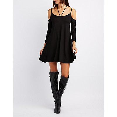 Strappy Cold Shoulder Swing Dress