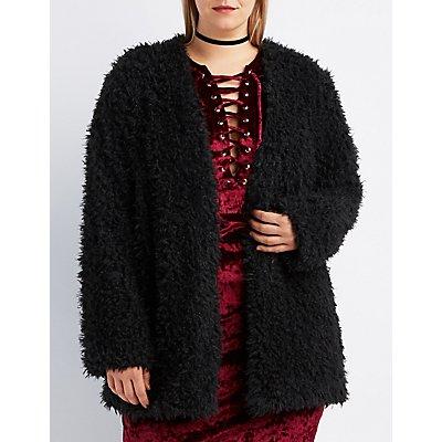Plus Size Fuzzy Faux Fur Coat