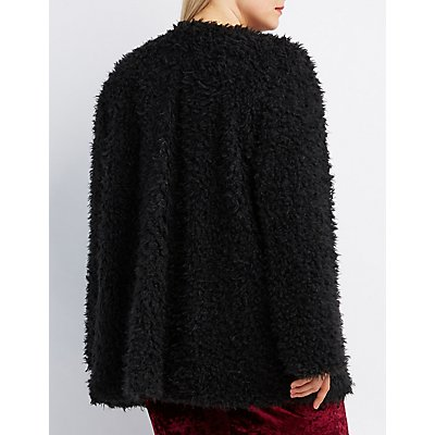 Plus Size Fuzzy Faux Fur Coat