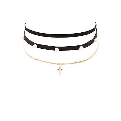 Faux Suede & Cross Choker Necklaces - 3 Pack