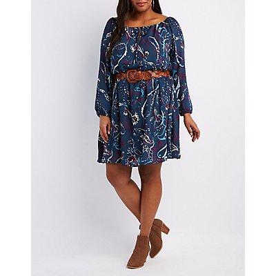 Plus Size Paisley Off-The-Shoulder Skater Dress