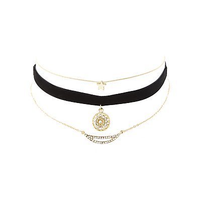 Velvet & Chainlink Choker Necklaces - 3 Pack