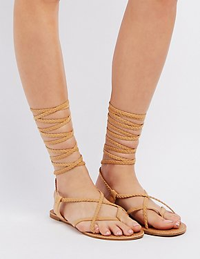 Braided Lace-Up Thong Sandals