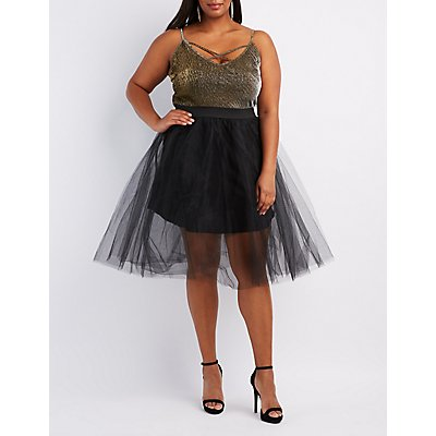 Plus Size Shimmer & Tulle Midi Dress