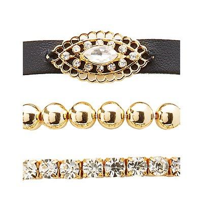 Edgy Embellished Layering Bracelets - 5 Pack