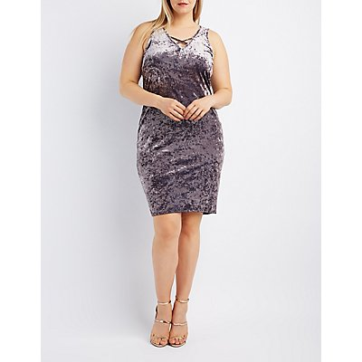 Plus Size Velvet Strappy Midi Dress