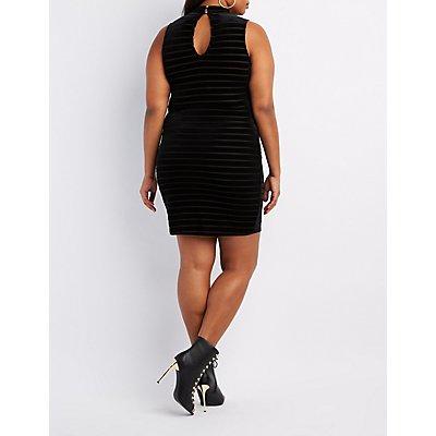 Plus Size Striped Velvet Choker Neck Dress