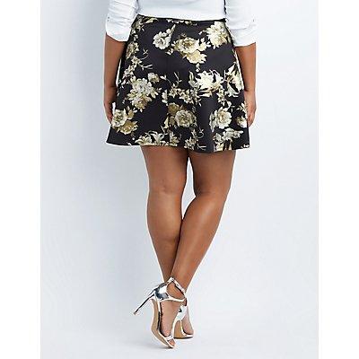 Plus Size Floral Scuba Skater Skirt
