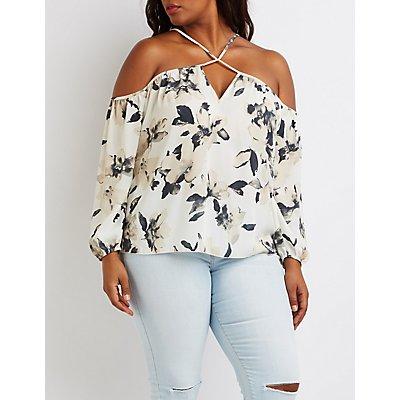 Plus Size Floral Strappy Cold Shoulder Top