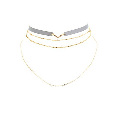 Faux Leather & Chain Layered Choker Necklace