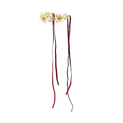 Etched Metal Floral Crown Headband