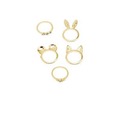Animal Ears & Rhinestone Rings - 5 Pack