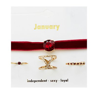 January Birthstone Choker Necklace & Rings Set