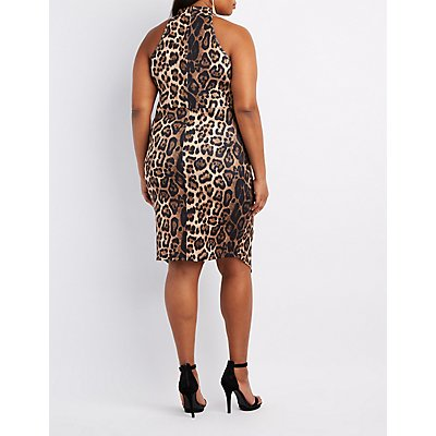Plus Size Leopard Choker Neck Dress