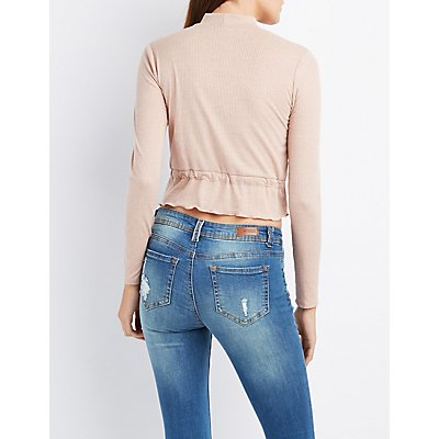 Mock Neck Drawstring Crop Top