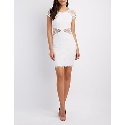 Lace Mesh-Trim Bodycon Dress