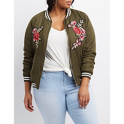 Plus Size Embroidered & Striped Bomber Jacket
