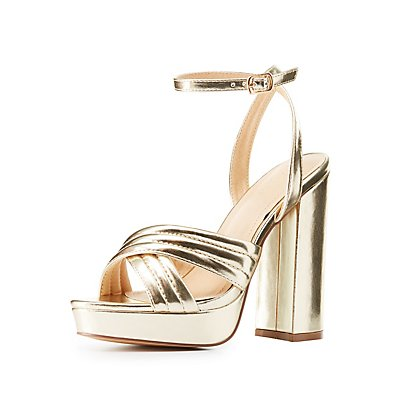 Metallic Chunky Platform Sandals