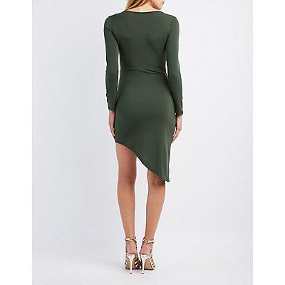 Lattice-Front Asymmetrical Bodycon Dress