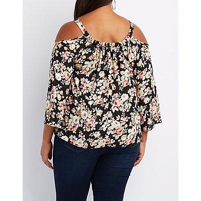 Plus Size Floral Cold Shoulder Swing Top