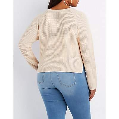 Plus Size Lace-Up Cropped Sweater