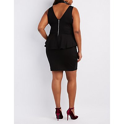 Plus Size Mock Neck T-Strap Peplum Dress