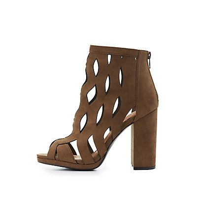 Laser Cut Peep Toe Booties
