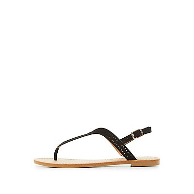Perforated T-Strap Sandals