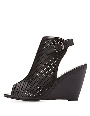 Perforated Slingback Wedge Sandals