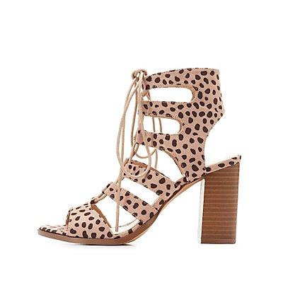 Leopard Caged Lace-Up Sandals