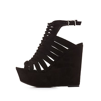 Platform Huarache Wedge Sandals
