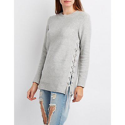 Lace-Up Sides Tunic Sweater
