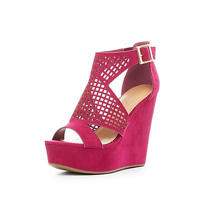 Bamboo Perforated Cut-Out Wedge Sandals