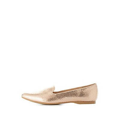 Metallic Embossed Snakeskin Loafers