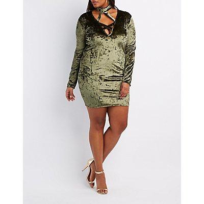 Plus Size Velvet Caged Bodycon Dress