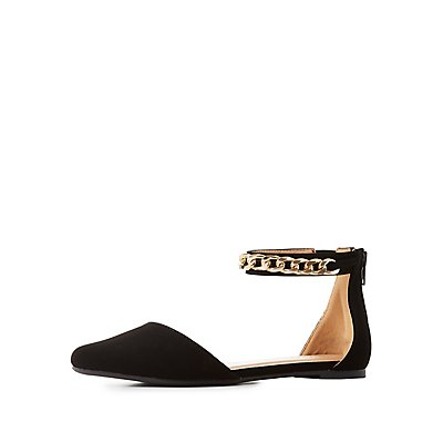 Pointed Toe Chainlink-Trim Flats