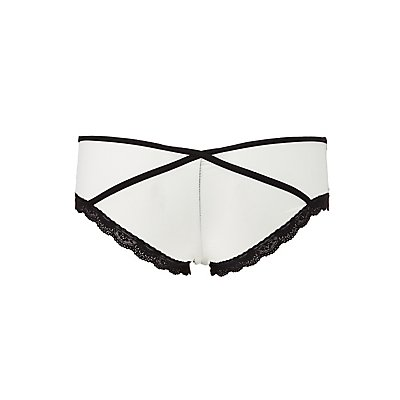 Lace-Trim Mesh Panel Cheeky Panties