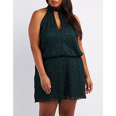 Plus Size Pleated Lace Mock Neck Romper